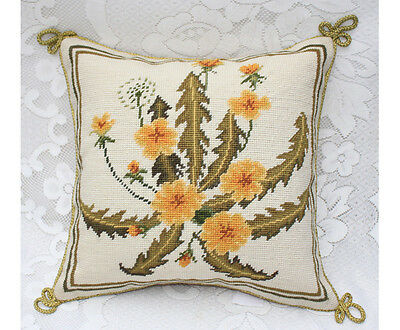 Handmade Elegant Country Dandelion Floral Needlepoint Pillow Cushion Sham