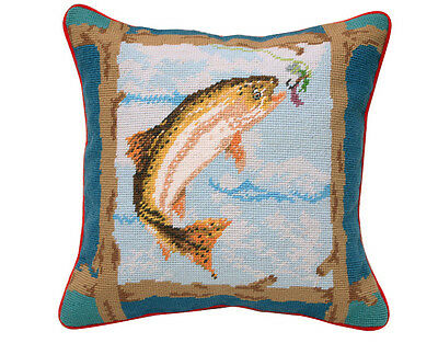 Hand Crafted Wool Fish Needlepoint Pillow