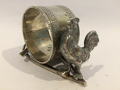 Victorian Silver Plate Figural Rooster Napkin Ring Holder