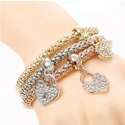 Fashion Women 3Pcs Gold Silver Rose Gold Bracelets Set Rhinestone Bangle Jewelry