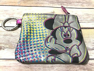 Disney Store Minnie Mouse Zipper Coin Purse Wallet with Key Ring - Sweet!