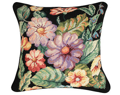 Finished Needlepoint Pillow -- Flowers