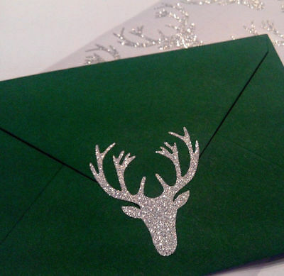 silver GLITTER christmas reindeer stickers envelope seals gift wrapping decor