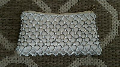 Vintage Ivory Beaded Purse 'empire Made' Excellent Condition