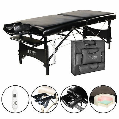 "Master Massage 30"" Galaxy Therma Top Portable Table Package bed couch Black PU"