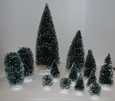 LEMAX 13 Decorative Christmas Trees Green with Imitation Snow - NEW