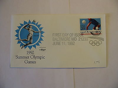 OLYMPIC SUMMER 1992 VOLLEY BALL US FDC FIRST DAY ISSUE ONE 29 CENT STAMP Cover