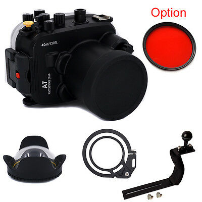Underwater Housing Diving Case For Sony A7 A7R A7S 28-70mm Red filter Arm Dome
