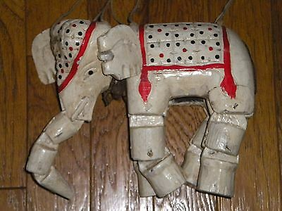 Vintage Hand Carved Hand Painted Elephant Marionette Wooden Puppet