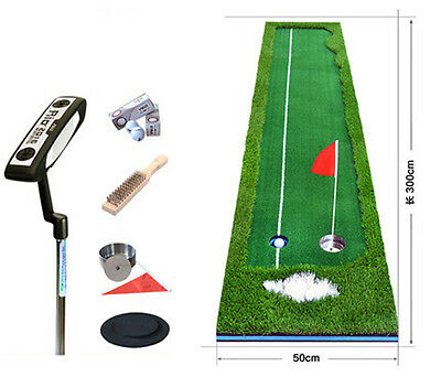 GM104 Putting Mat with Ball Return Green Outdoor Indoor Training Aid Putter Set