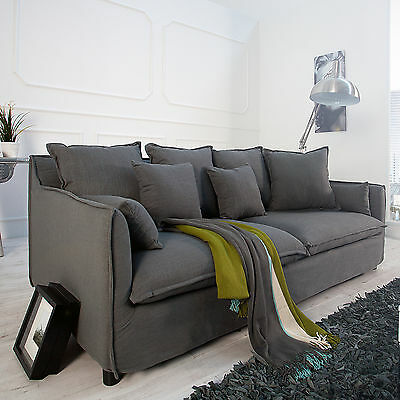 hussensofa heaven leinenstoff in grau 3er sofa 215cm couch wohnzimmer big sofa eur 599 95. Black Bedroom Furniture Sets. Home Design Ideas