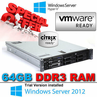Dell PowerEdge R710 2 x Hex CORE X5650 2.66Ghz 64GB DDR3 Perc 6/i RAID 870W PSU