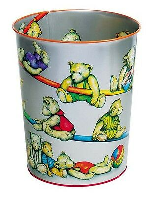 Teddy Bear Waste Paper Bin, Metal, Decorated with Teddies