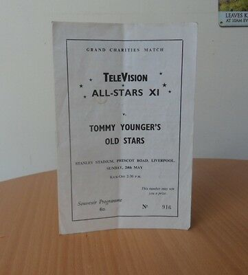 """AUTOGRAPHED PROGRAMME-TELEVISION ALL STARS XI V TOMMY YOUNGER""""S OLD STARS-1960""""s"""