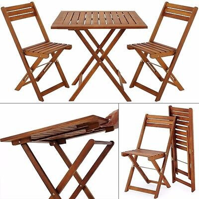 Garden Bistro Set Wooden Furniture Folding Table Chairs Balcony Patio Hardwood
