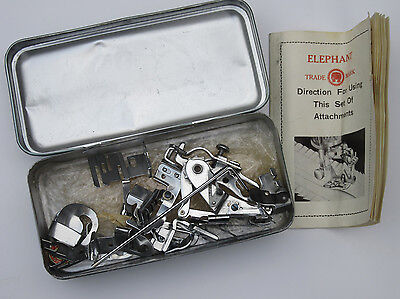 Vintage Elephant Sewing Machine Attachments In Original Tin