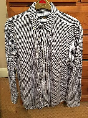 """Men's, Club Room, Navy and Blue Check Shirt, 16"""" American Sizing"""