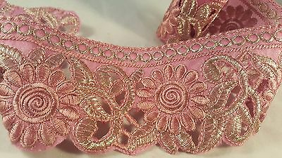 7.5cm- 1 meter Beautiful pink and gold embroidered lace trimming edging