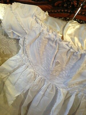 Early Victorian Christening Gown. Whitework. Good. 20 Chestx40 Length