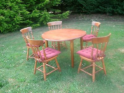 Wood Table and 6 Colonial Wood Chairs