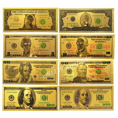 5pcs 1875 Year $1000//100//50//5//1 Dollar 24K Gold Foil Banknotes Home Living Gifts