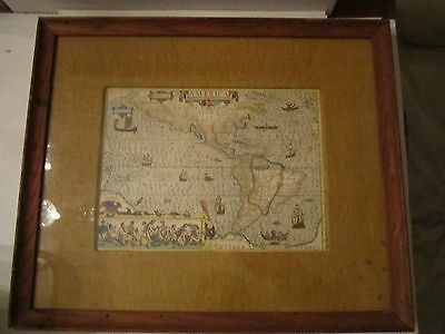 "Old ""early 17Th Century Map Of America"" -Reduced Facsimile-Framed 16"" X 13 1/2"""