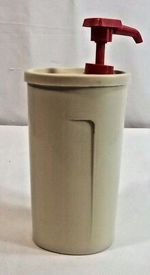 Tupperware Vintage Soap Ketchup Condiment Pump Dispenser Almond Red
