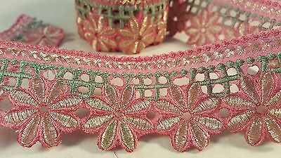 4.5cm- 1 meter Beautiful Pink gold and green embroidered lace trimming for craft