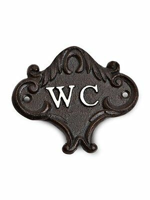 cast iron small wc water closet bathroom toilet bath wall sign door