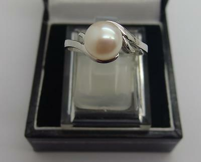 925 Sterling Silver Freshwater Cultured White Pearl Ring Size Q1/2 UK 8.5 US #58