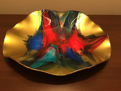 Mid Century Seetusee Large Art Glass Bowl Mayfair Canada Leather Backing