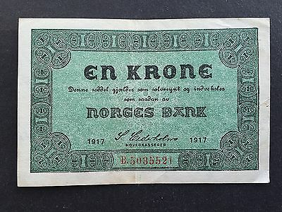Norway 1 Krone P13 Skillemyntsedler Issue Dated 1917 EF