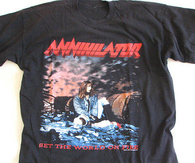 Authentic VTG 1993 ANNIHILATOR Set the World on Fire Tour metal T-shirt Slayer