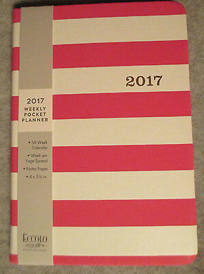 """2017 WEEKLY Pocket Calendar PLANNER 4X5 3/4"""" NOTES Small Stripe PINK White Women"""