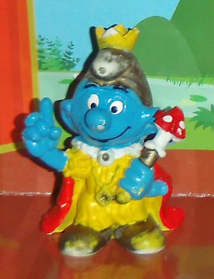 Vintage Emperor Or King Smurf With A Sceptre & A Crown 1978 Smurf Lot