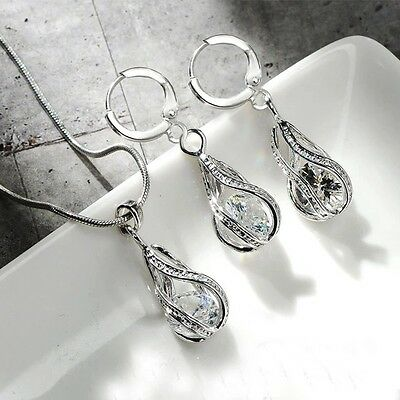 Women's 925 Sterling Silver Crystal Water Drop Pendant Necklace And Earring Set