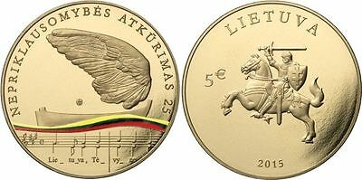 5 Euro coin 2015 Lithuania Lituanie LT - 25 years of independence of Litauen UNC