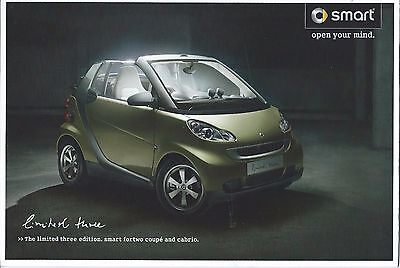 Smart Limited Three Edition Fortwo Coupe & Fortwo Cabrio UK Market Brochure 2009