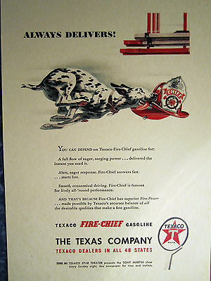Vintage 1929 TEXACO FIRE-CHIEF GASOLINE W DALMATIAN Advertising Color Sign/Ad
