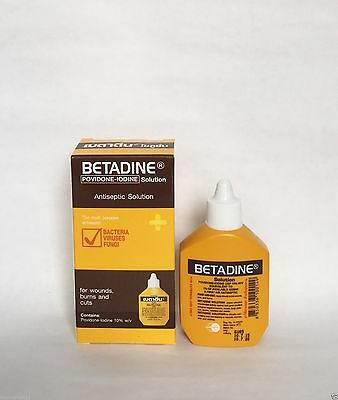 30cc Betadine Solution Povidone-Iodine First Aid Antiseptic Wound Free Shipping