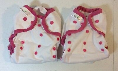 Lot of 2 NEW Econobum One Size Cloth Diaper Covers White and Pink