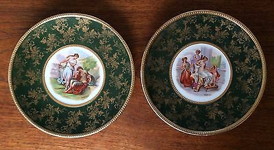 2 Charming Vintage WALL PLATES Neoclassic KAUFMANN  Green and Gild 23 cm dia