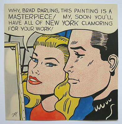 Unique handmade drawing painting signed RL (Roy Lichtenstein).