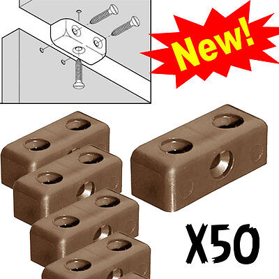 Brown Modesty Blocks Cabinet Kitchen Cupboard Fixing Joint Connector Cube Screw