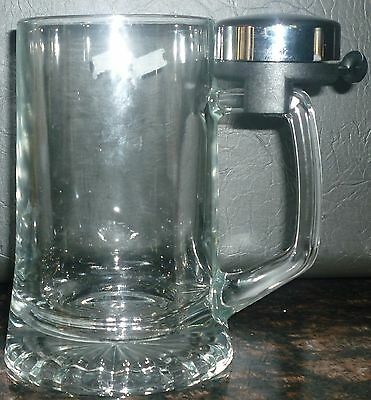 Clear Glass Beer Stein W/bell Clover 'ring For More Beer'