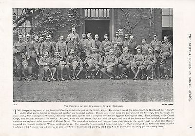 1900 Antique Print-Boer War-Officers Of The Household Cavalry Regiment