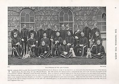 1900 ANTIQUE PRINT-BOER WAR-OFFICERS OF THE 13th HUSSARS