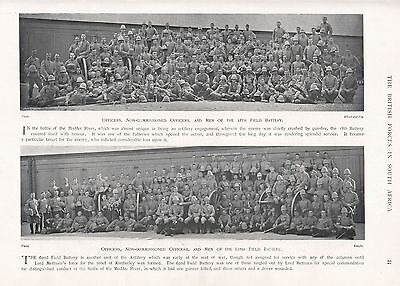 1900 ANTIQUE PRINT-BOER WAR-OFFICERS, NCOs, MEN OF 18th AND 62nd FIELD BATTERIES