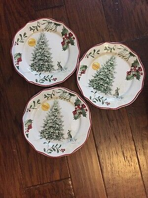 3 Better Homes and Gardens Heritage Tree New Winter Christmas Salad Plates Limit