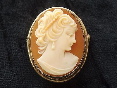 Silver Shell Cameo Brooch  Ladies Head with ringlets  800 continental silver